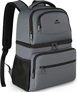 Cooler Backpack 26 Cans Insulated Backpack Cooler Leakproof Double Deck Cooler Bag for Men Women Lightweight Soft Lunch Backpack with Cooler Compartment to Beach Picnics Hiking Work, Grey