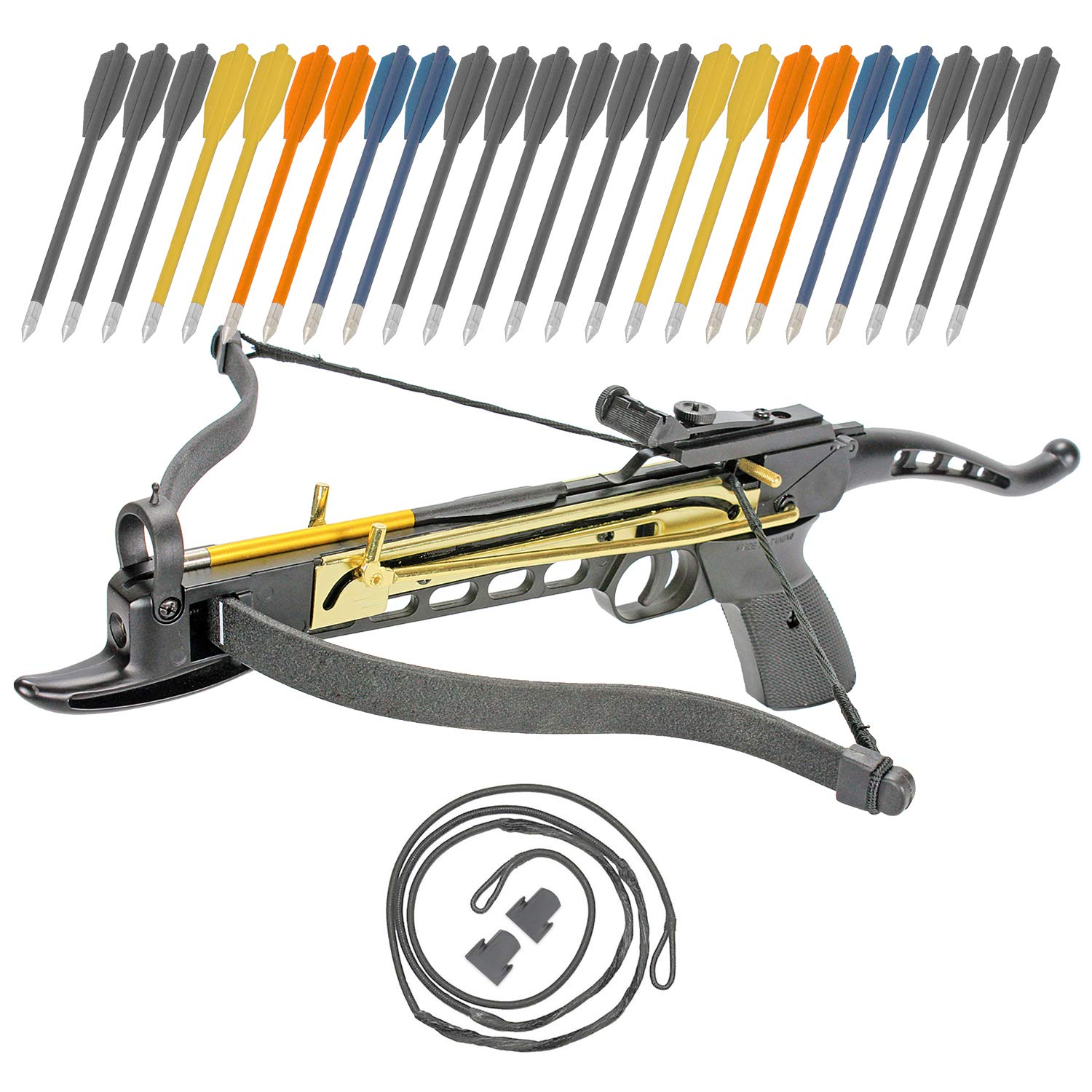 Crossbow Self-Cocking 80 LBS by KingsArchery® with Adjustable Sights, 3 Aluminium Arrow Bolts, Spare Crossbow String and Caps, and Bonus 24-pack of Colored PVC Arrow Bolts + KingsArchery® Warranty by KingsArchery