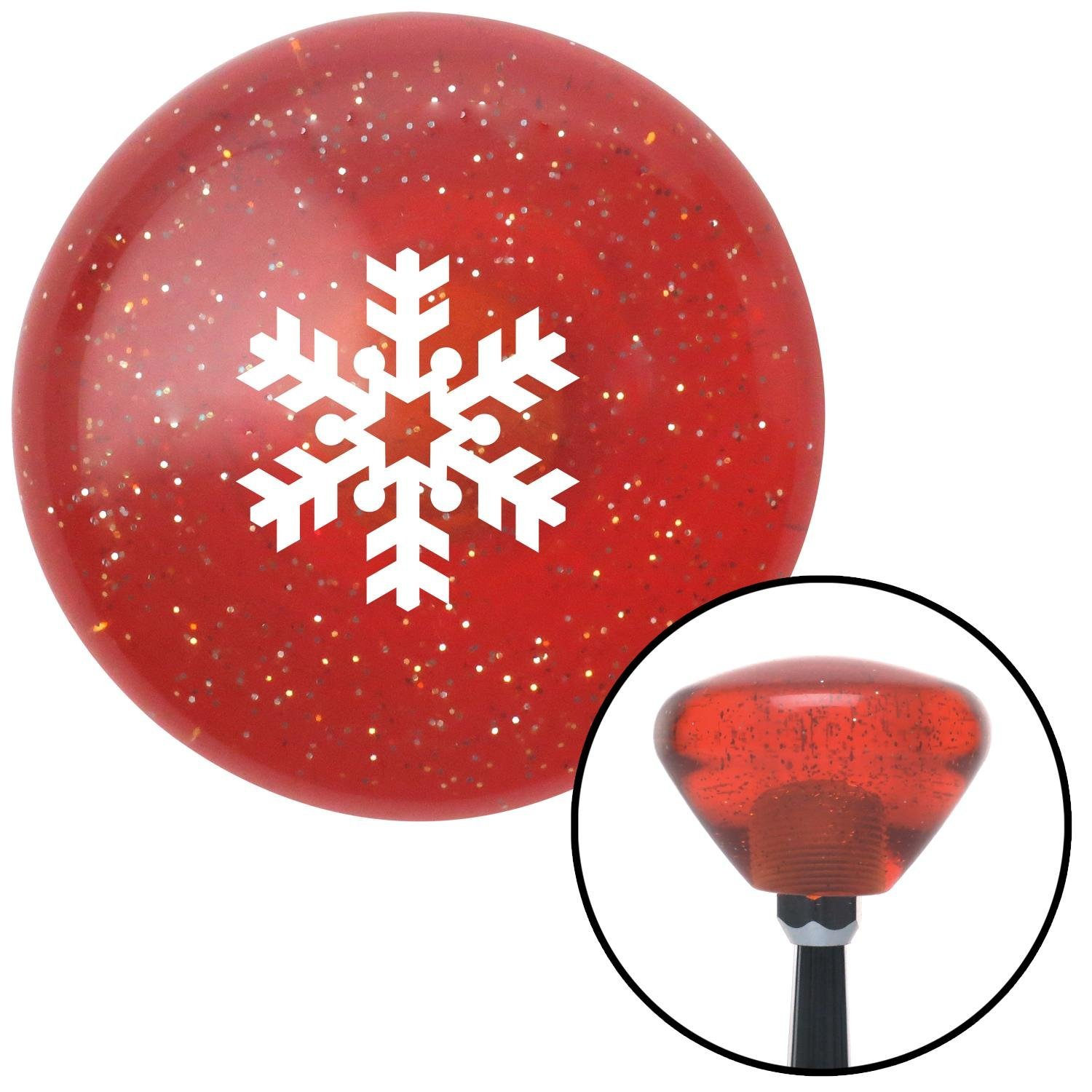 White Snowflake Filled in American Shifter 178722 Orange Retro Metal Flake Shift Knob with M16 x 1.5 Insert