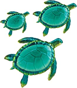 Comfy Hour Coastal Ocean Sea Turtles Wall Art Decor Set (3 Pieces - Large), Green