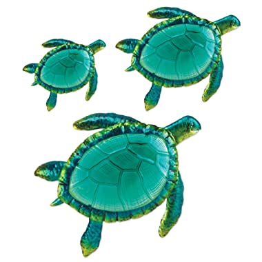 Comfy Hour Coastal Ocean Sea Turtles Wall Art Decor Set (3 Pieces - Large), Green
