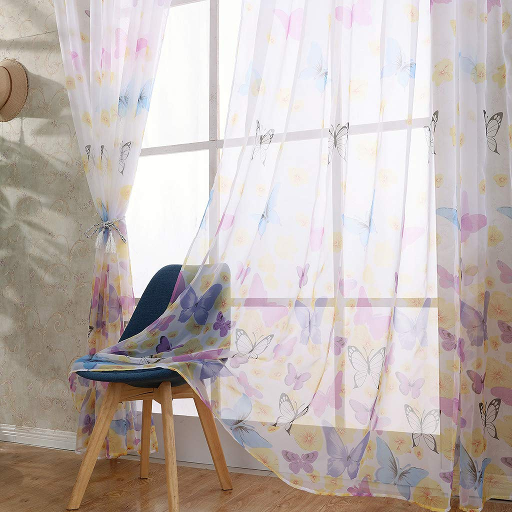 ClearanceQuaanti 1 Panel Butterfly Voile Tulle Window Curtain,Butterflies Sheer Window Voile Panel Drapes Curtain,Grommet Window Treatment for Living Room,Kids Girls Room,Nursery Room (Blue)