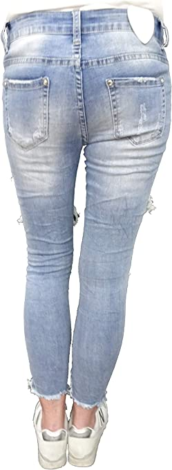 KouCla Skinny Jeans destroyed look Hose mit Spitze S 36 M 38 L40 Stretch
