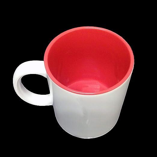 Taza de café blanco – Sublimación Interior Rojo: Amazon.es: Hogar