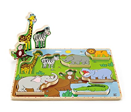 amazon com hape wild animals toddler stand up wooden puzzle toys