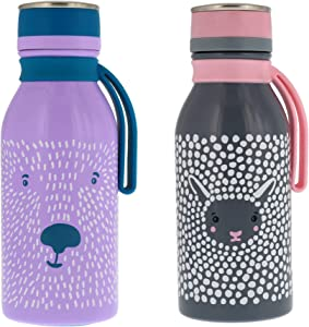 reduce Stainless Steel Hydro Pro Kids Water Bottle, 14oz - Vacuum Insulated Leak Proof Water Bottle for Kids - Great for On the Go and Lunchboxes - Furry Friends Design, Purple Bear and Grey Sheep
