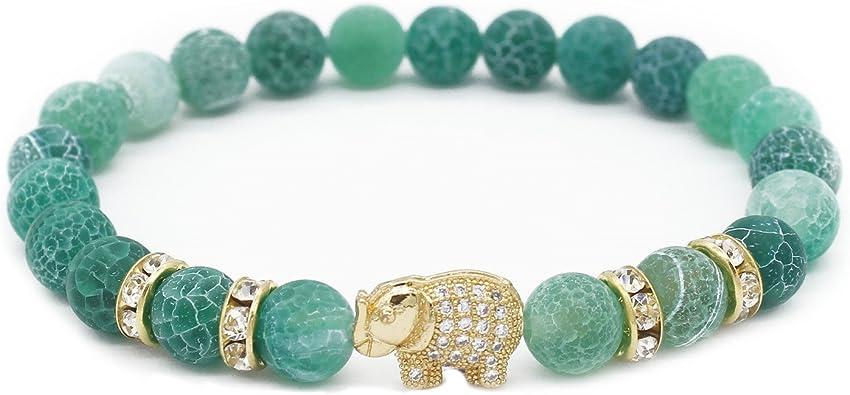 Gemfeel 8mm Natural Weathering Stone CZ Gold Elephant Bracelet Yoga Balancing Reiki Healing Jewelry, 7.5