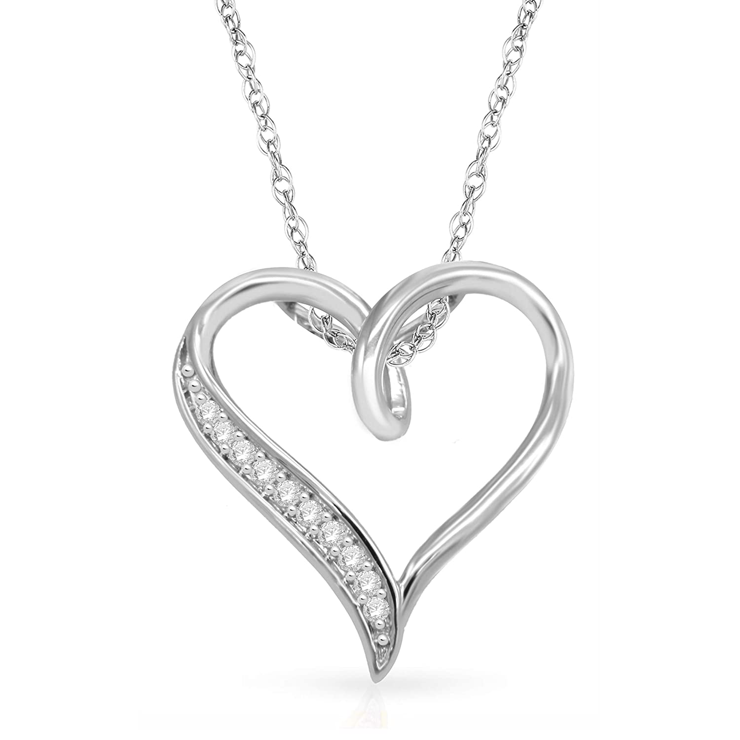 NATALIA DRAKE Holiday Special Sterling Silver 1//10ctw Diamond Heart Pendant Necklace