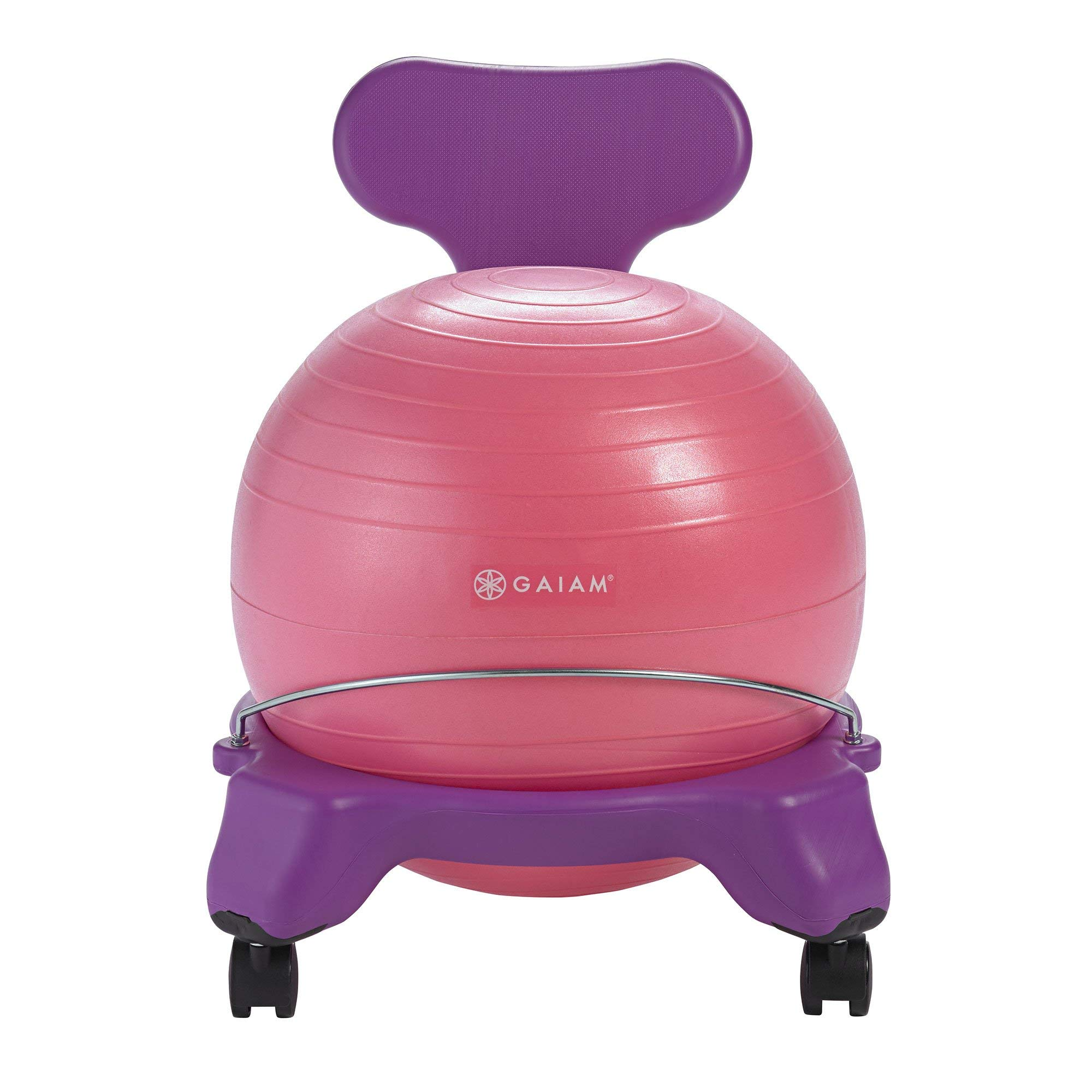 Gaiam Kids Balance Ball Chair - Classic Children's Stability Ball Chair, Alternative School Classroom Flexible Desk Seating for Active Students with Satisfaction Guarantee, Purple/Pink (Renewed)