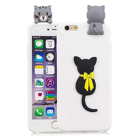 Funluna Funda iPhone 6S/6 Plus, 3D Gato Negro Patrón Cover Ultra Delgado TPU Suave Carcasa Silicona Gel Anti-Rasguño Protectora Espalda Caso Bumper ...