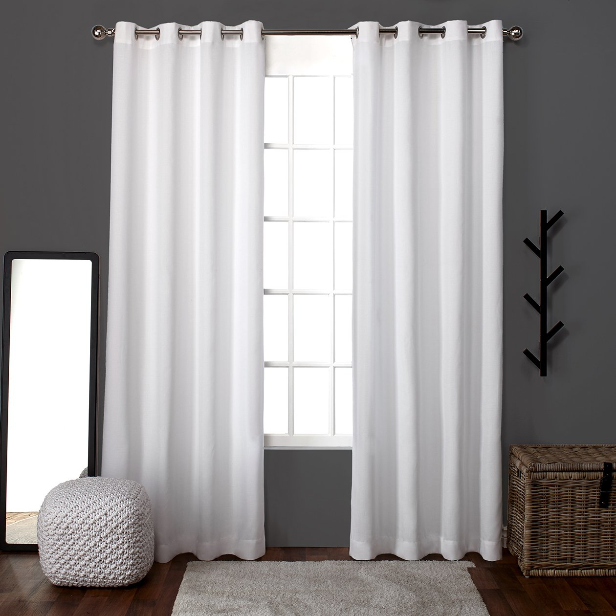 White window curtains - Amazon Com Exclusive Home Curtains Loha Linen Grommet Top Window Curtain Panel Pair Winter White 52x96 Home Kitchen