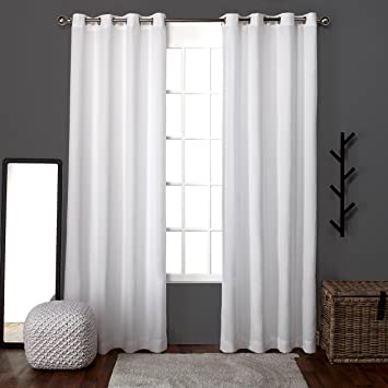 Exclusive Home Curtains Loha Linen Grommet Top Window Curtain Panel Pair,  Winter White, 52x96  Linen Curtain Panels