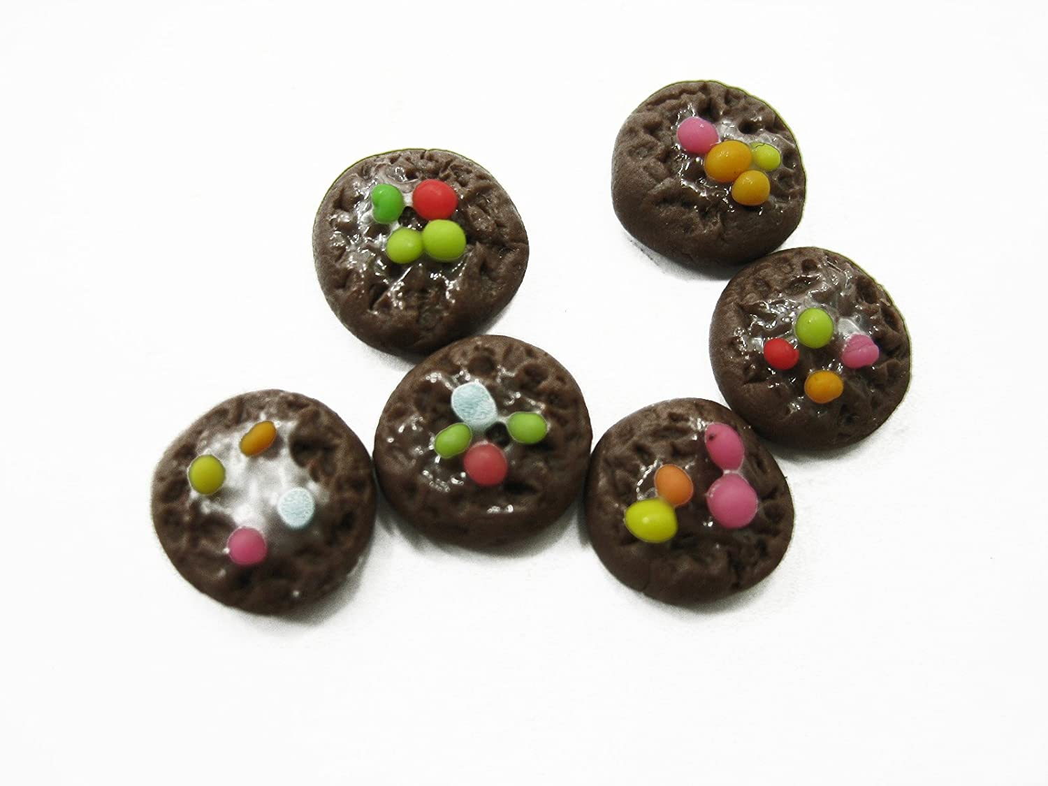 Dollhouse Miniatures Food Lot 10 Loose Chocolate Rainbow Chip Cookie 12474