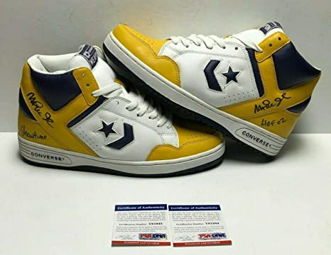 size 7 official supplier special sales Magic Johnson Signed Converse Weapon Basketball Shoes ...
