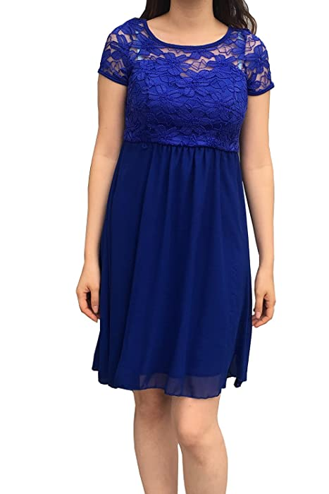 54fdc4a4969 Womens Royal Blue No Zipper Pull On Short Sleeve Lace Top Chiffon ...