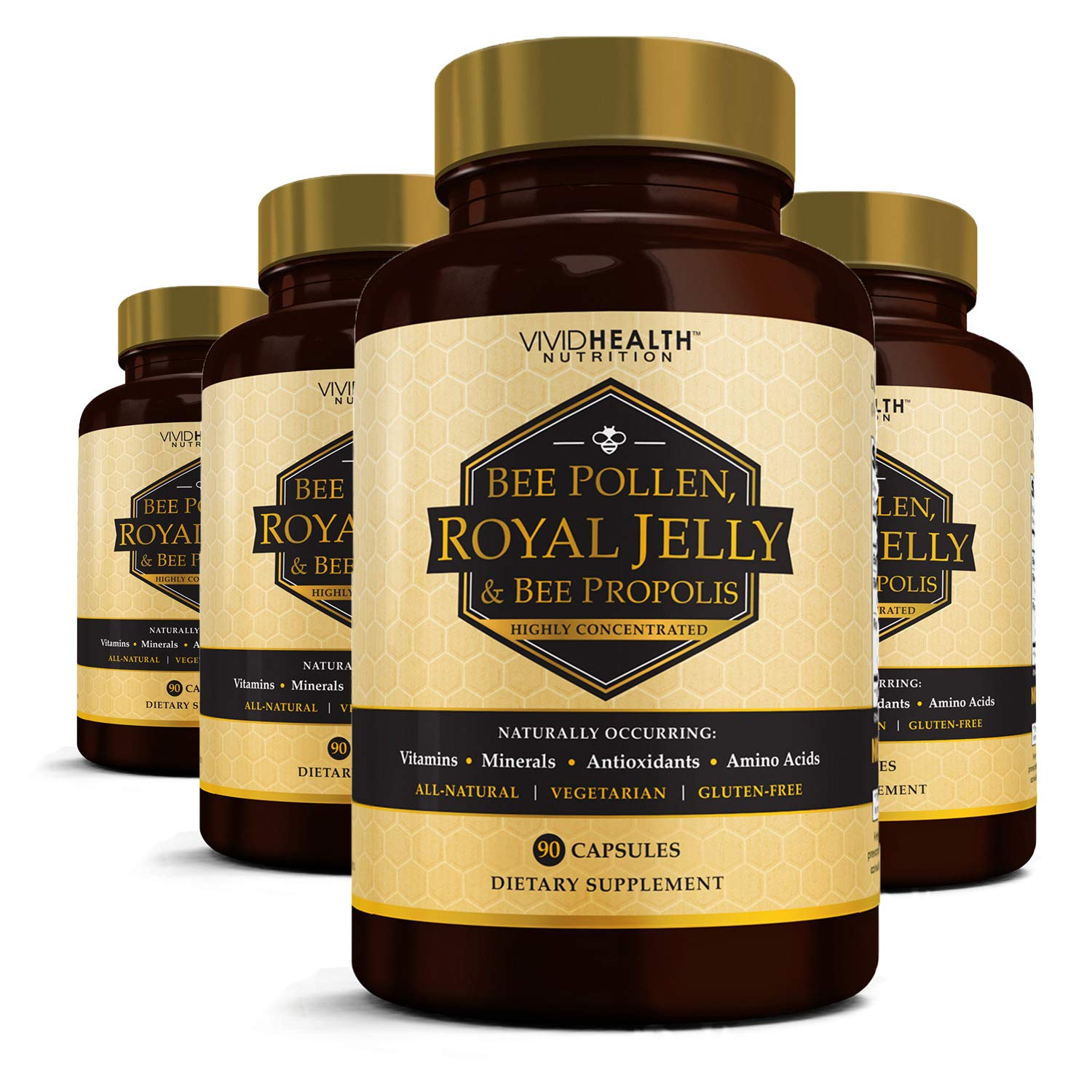 Vivid Nutrition High potency Royal Jelly & Bee Pollen with Bee Propolis (4 bottle). All-Natural, Highly Concentrated Formula - 90 Capsules per Bottle