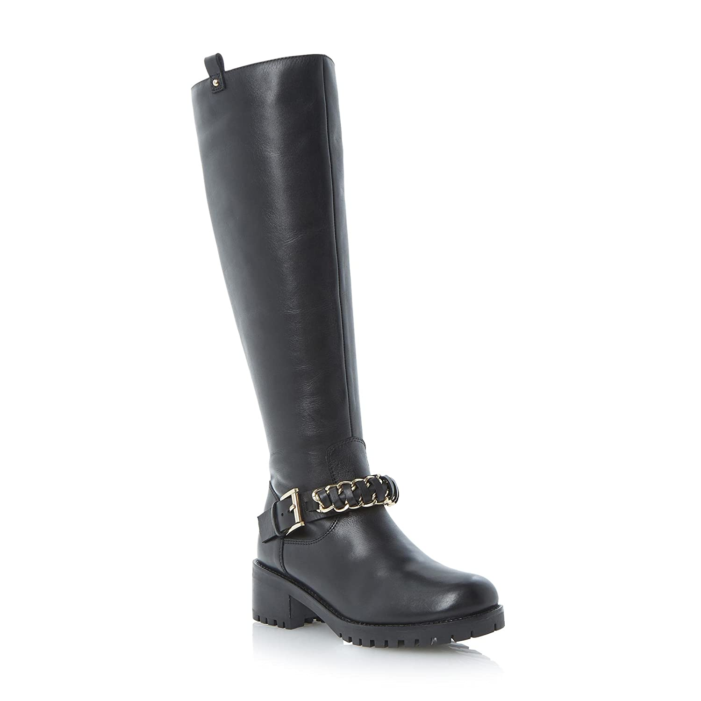 Damen Kniehohe Lederstiefel mit genagelter genagelter genagelter Sohle und Zierkette Stiefel 263301