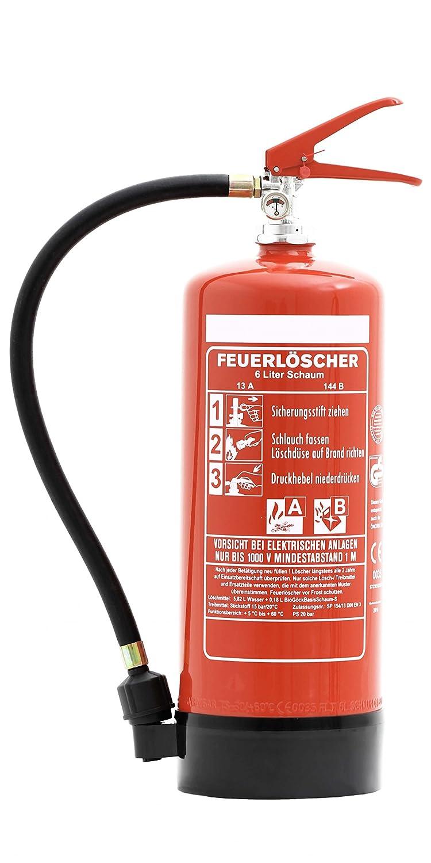 Feuerlöscher 6 Liter Schaum | Brandklasse A und B | mit Halterung | Manometer | Prüfnachweis & gratis ANDRIS® Feuerlöscher Symbolschild Folie