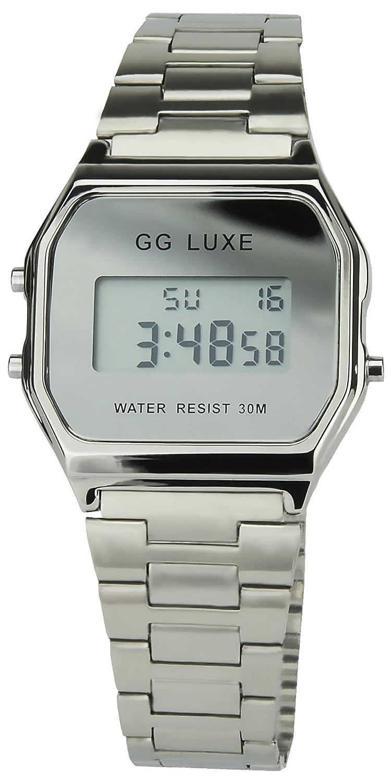 GG Luxe Damen Armbanduhr Schwarz Quarz Stahl Rechtek Alarm