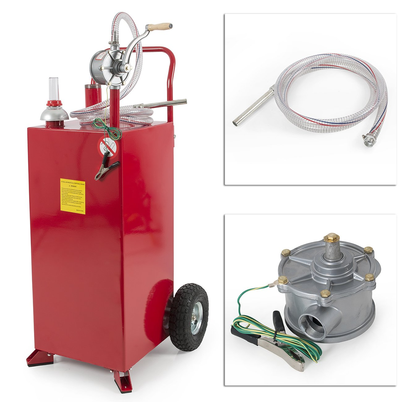 Arksen 30 Gallon Portable Fuel Transfer Gas Can Caddy Storage Gasoline Tank Heavy Duty 30-Gallons Capacity- Red
