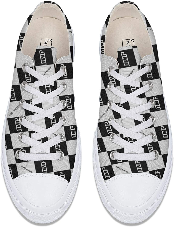 BOINN Womens Low Top Lace Up Flat Canvas Shoe Non-Slip Trendy Outdoor Go Easy Walking Sneakers