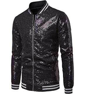 d5921713f Annstar Men's Sequin Jacket Zip Blazer Baseball Tops Sparkle Metallic  Nightclub Long Sleeve Down 70s Disco