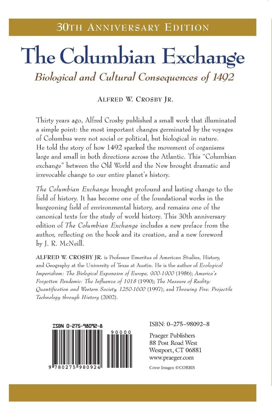 The Columbian Exchange Biological And Cultural Consequences Of 1492
