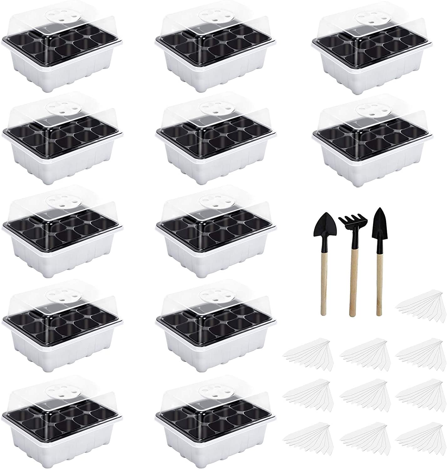 ZeeDix 12 Set Seedling Trays Seed Starter Kit- 144 Cells Plant Grow Kit, Garden Seed Propagator Premium Seedling Dome and Tray with 5 Inch Vented Humidity Dome(12 Cells Per Tray)