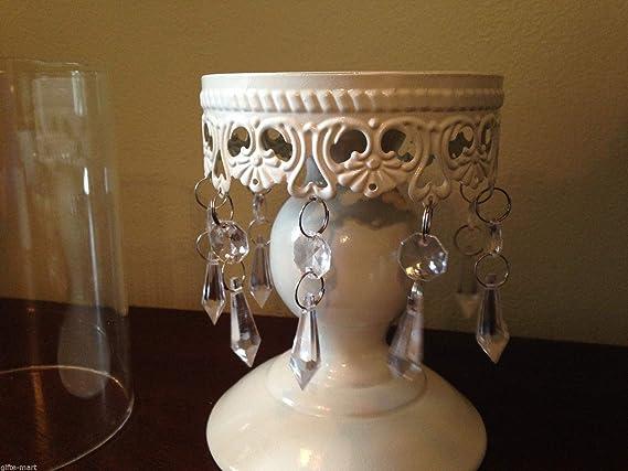 White Crystal Beaded shabby hurricane pedestal pillar chandelier Candle Holder