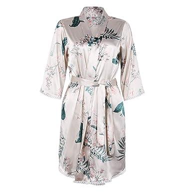 97af988a28 BellisMira Sexy Slip Satin Sleepwear Lace Cami Flower V-Neck Floral Silk Kimono  Robe Women