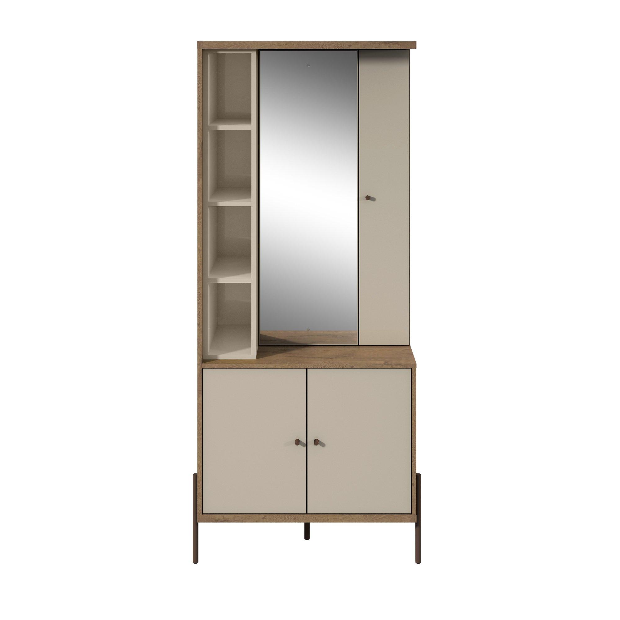 Manhattan Comfort 350714 Joy Series Large Bedroom Storage Jewelry Vanity Armoire, Off- Off-White