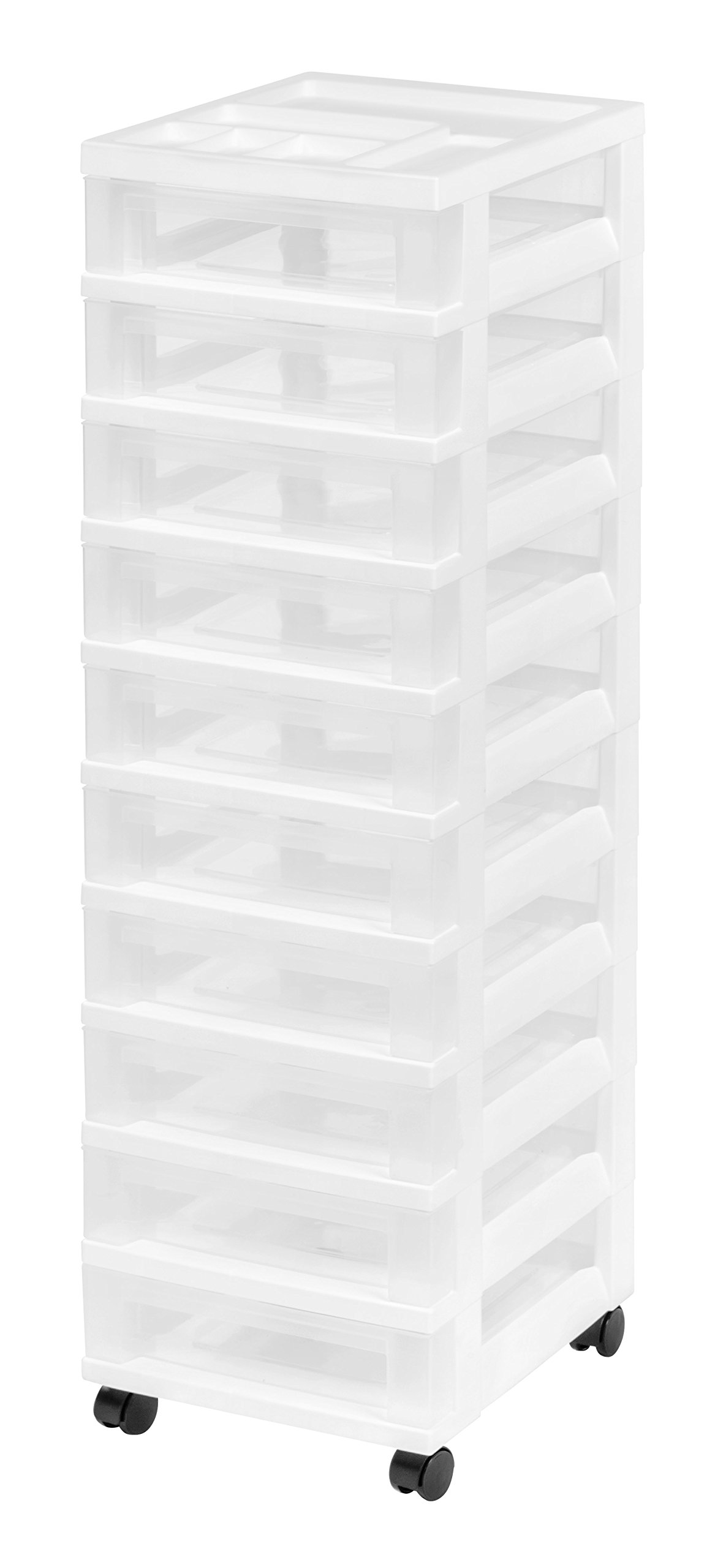 IRIS 10-Drawer Rolling Storage Cart with Organizer Top, White by IRIS USA, Inc.
