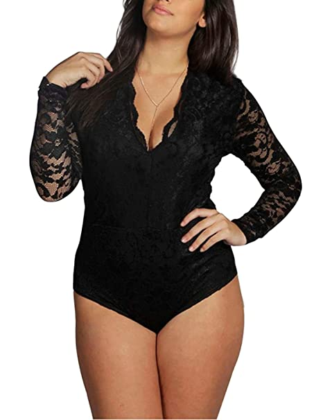 ad3147c769c Amazon.com  IRISIE Women Plus Size Sexy Lace Long Sleeve Plunge Neck ...