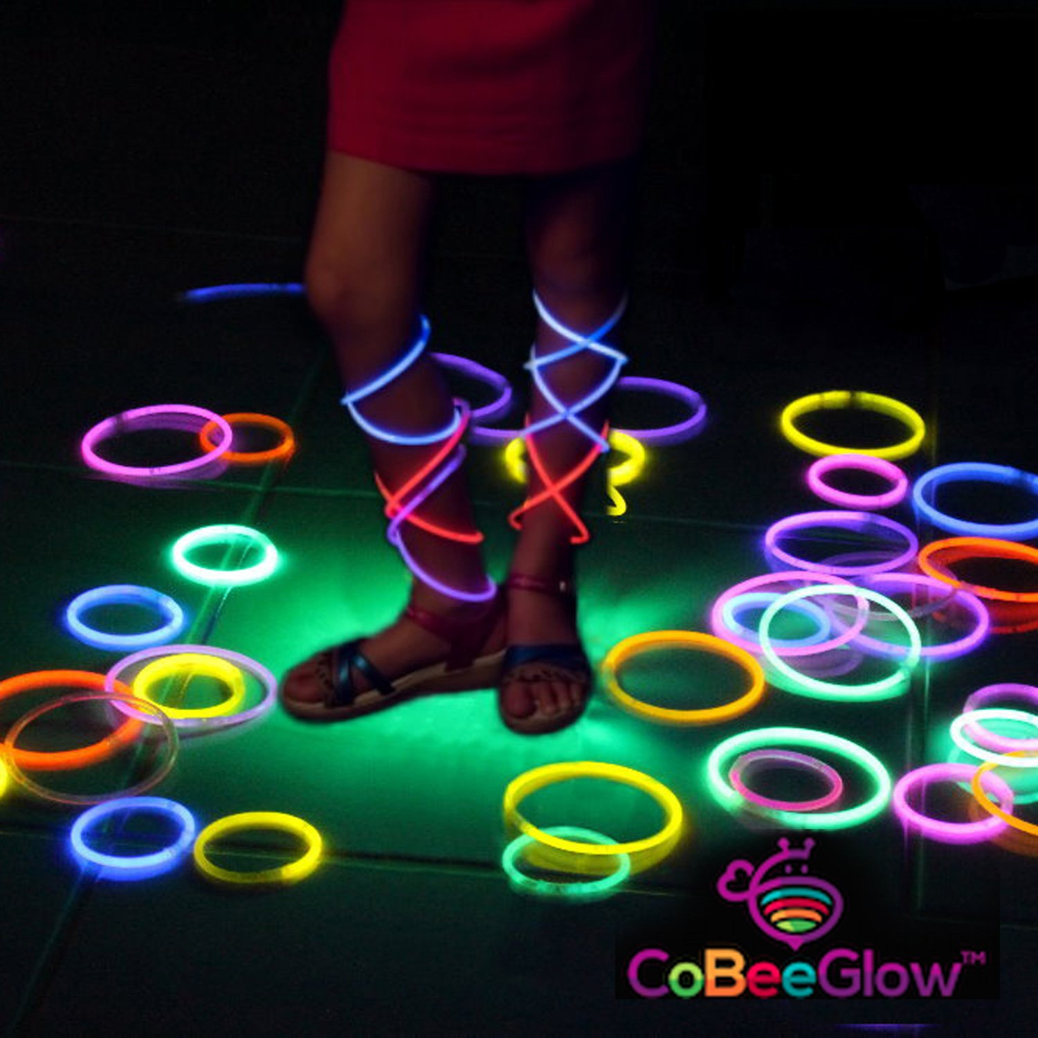 Glow Necklaces Bulk Party Supplies - 100 Glow in the Dark Necklaces - 22 Inch Glow Sticks - Extra Bright Neon Glow Necklace - Strong 6mm Thick - 9 Vibrant Neon Colors - Stuffers for Kids - Mix by CoBeeGlow (Image #9)