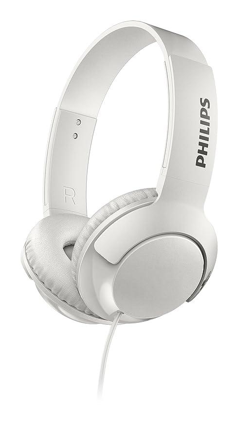 Philips Bass+ SHL3070WT - Auriculares con Cable (Bajos potentes, Plegables, Ligeros y Elegantes