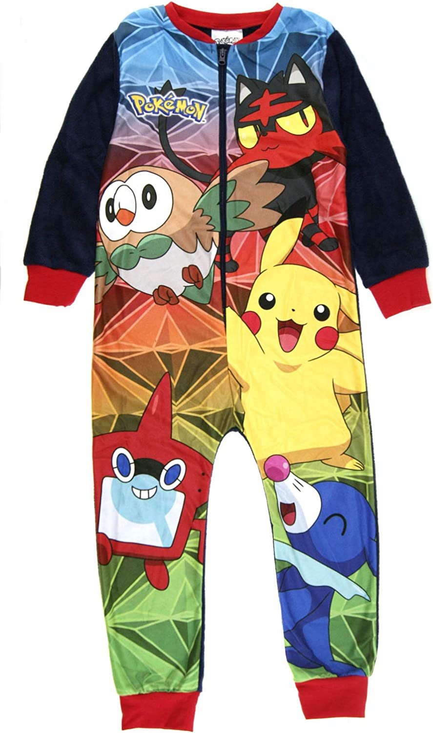 All in One PJ Jumpsuit Featuring Pikachu and Poke Balls Pokemon Onesie for Kids Gift for Boys 3-12 Years Children/'s Onesie with Pokemon Character Pikachu Onesie Pyjama