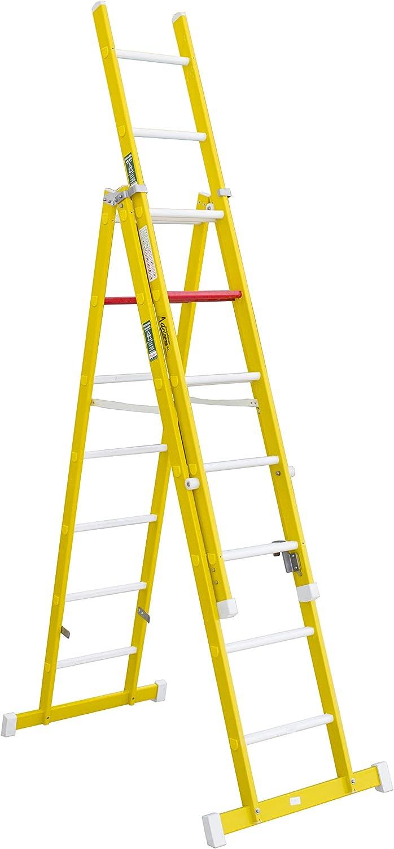 Escalera aislante de tijera con un tramo extensible, fabricada en fibra de vidrio. NO permite su uso con los tres tramos extendidos. Según norma UNE-EN 131 (9 peldaños x 3 tramos): Amazon.es: