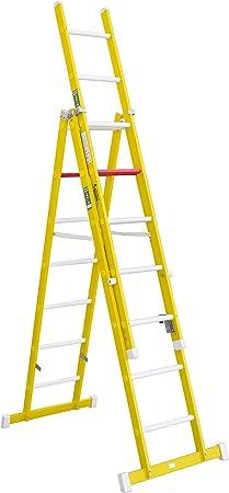 Escalera aislante de tijera con un tramo extensible, fabricada en fibra de vidrio. NO permite su uso con los tres tramos extendidos. Según norma UNE-EN 131 (7 peldaños x 3 tramos): Amazon.es: