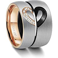 Besteel Stainless Steel Ring for Men Women Love Heart Rings Wedding Engagement Ring Couples His & Hers