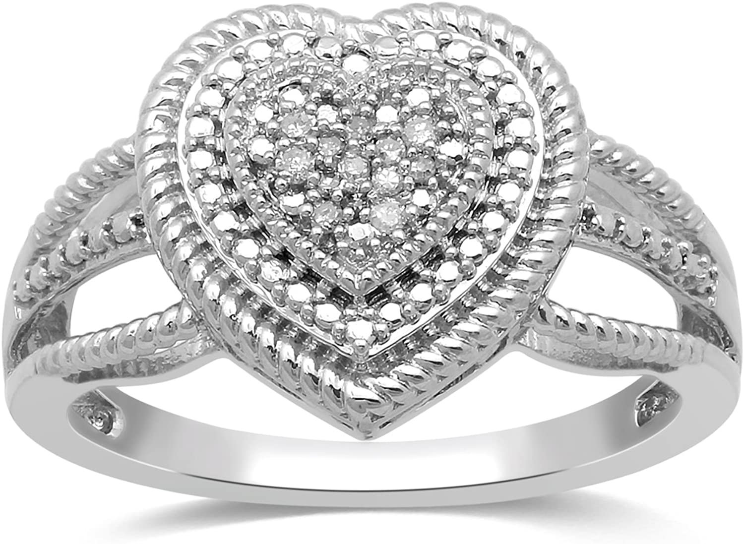 Jewelili Sterling Silver Diamond Accent Rope Texture Heart Promise Ring Size 7