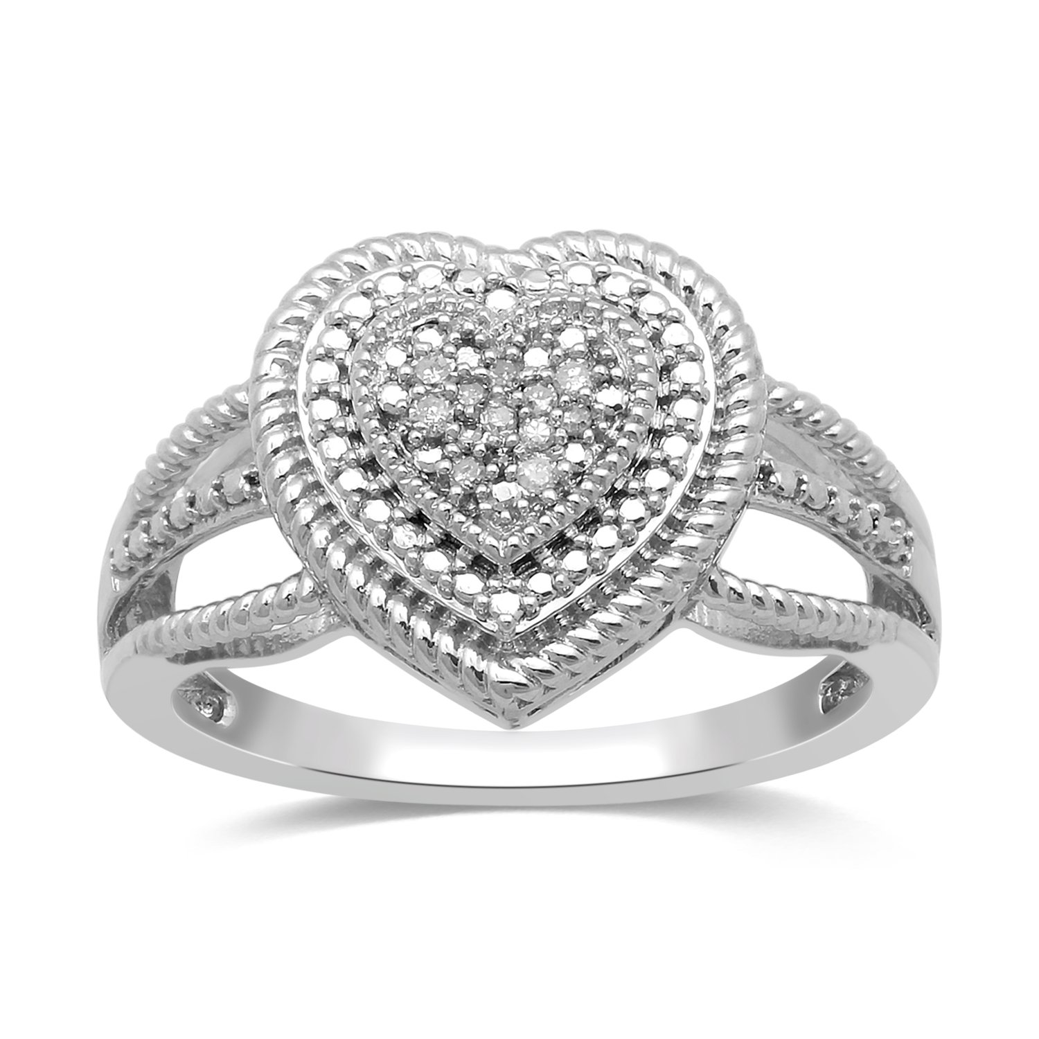Jewelili Sterling Silver Diamond Accent Rope Texture Heart Promise Ring . Size 7''