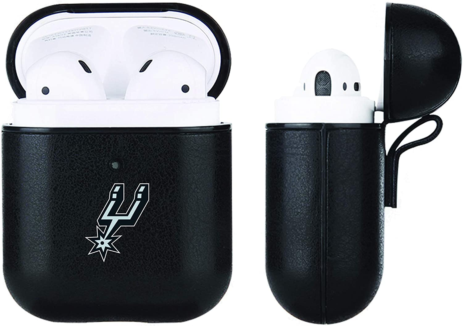 Black Leather NBA case compatable with Apple AirPod (San Antonio Spurs)