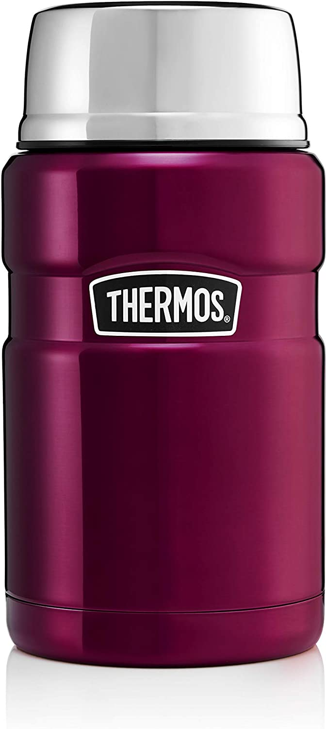 Thermos Food Flask, Stainless Steel, Raspberry, 710ml