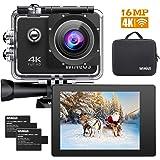 WiMiUS Q1 Action Cam 4k WiFi 16MP Impermeabile Fotocamera Videocamera Ultra HD Subacquea 40M Q1 Nero
