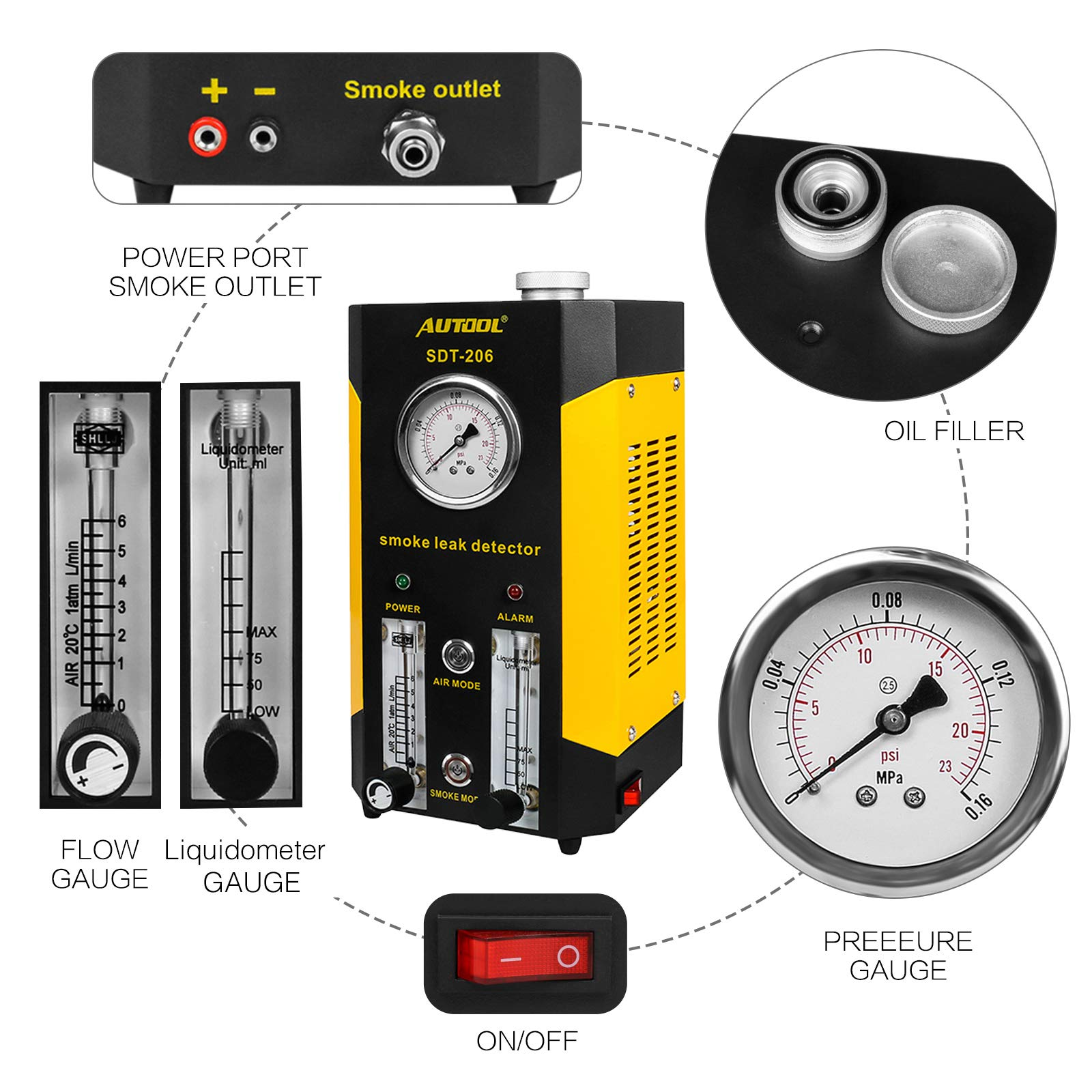 AUTOOL SDT-206 Automotive EVAP Leaks Testing Machine, 12V Vehicle Pipes Fuel Leakage Detector Diagnositc Tester for Car/Motorcycles/Boat (Newest Dual Modes) by AUTOOL (Image #3)