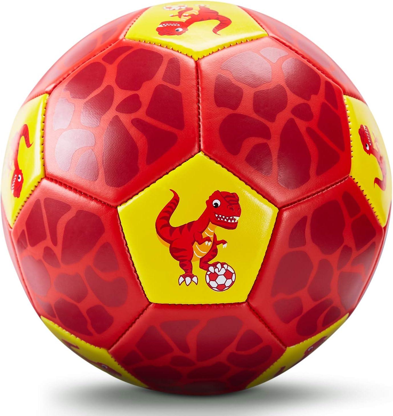 CubicFun Balon Futbol Niños Juguetes al Aire Libre para Niños 3 4 5 6 años, Dinosaurios Pelota Fútbol Talla 3 para Niños Niñas, Balón de Fútbol con Bomba y Bolsa de Malla