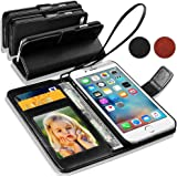 Apple iPhone 5S / 5 Black Leather Wallet Flip Case Cover Pouch + Screen Protector & Polishing Cloth