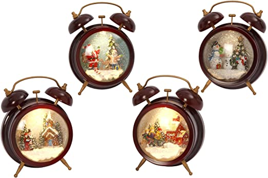 7,5 Navidad iluminado Musical Spinning agua mundo reloj ...