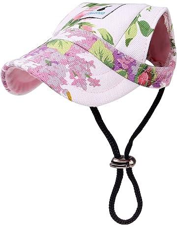 Stripe POPETPOP Cappello Sportivo per Cani Cappello in Tela per Animali da Compagnia Cappello Visiera per Berretto da Baseball con Fori per Le Orecchie Taglia M