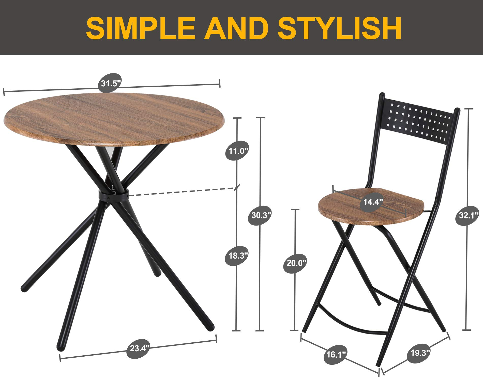 Homury 5pcs Dining Table Set Kitchen Table Kitchen Furniture Round Dining Table with 4 Round Dining Chair Dining Set Wood Coffee Table Set Home Office Table Set by Homury (Image #7)